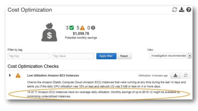 Cost Optimization Tab Sample