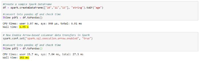 Comparison of Spark DataFrame to Pandas DataFrame